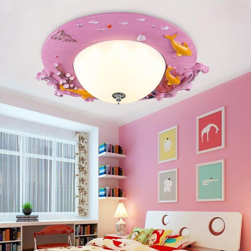 kindergarten boy girl bedroom LED ceiling lamp Children lamp cartoon living room bedroom home lighting blue ocean fish lights za