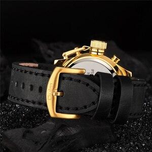 Image 3 - Oulm 新デュアルディスプレイスポーツは、男性の高級ブランドの本物のレザーストラップ腕時計 LED カレンダー多機能クォーツ時計