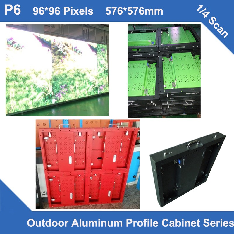 TEEHO 6pcs/lot LED Display P6 Outdoor Aluminum Profile Cabinet 576mm*576mm Thin 1/4 Scan Led Display Screen Video Wall Led Board