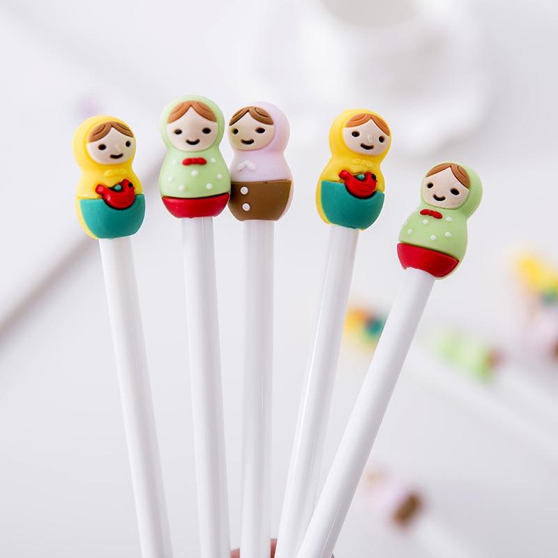 Korean Creative Cartoon Cute Dolls Gel Pen Stationery Store Kids Cute Kawaii Escritorio School Tool Material Thing Item Shop Kit