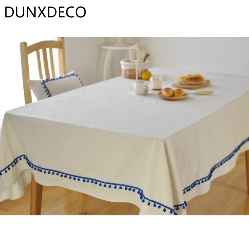 DUNXDECO Tablecloth Linen Table Cover Fabric Cute Little Balls Round Modern  Fresh Solid Color Party Decoration