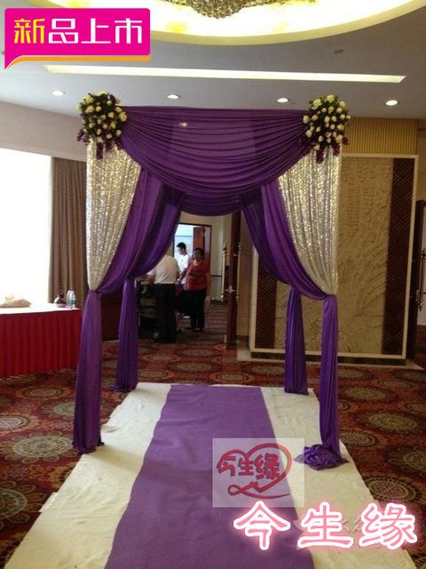 Wedding Backdrops Square Canopy Chuppah Arbor Drape With Swag For Decoration