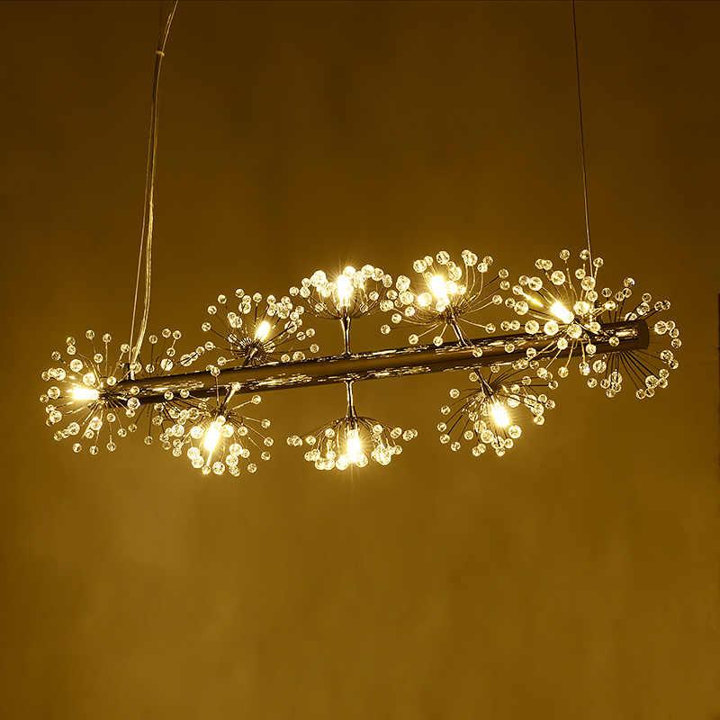 חוט דיג נורדי יצירתי LED נברשות אמנות פשוטה עיצוב שן הארי ספירלת נברשות קריסטל מסעדת מנורת בר מנורת led