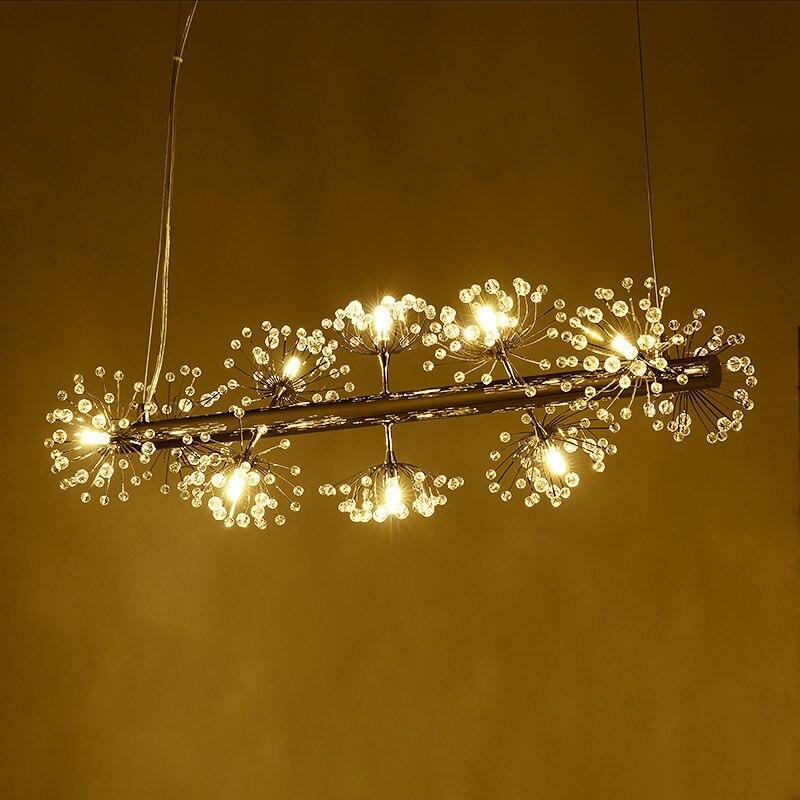 Nordic creative fishing line LED chandeliers simple art design bar lamp dandelion spiral restaurant crystal chandeliers led lamp|bar lamp|lamp dandelion|design lamp - title=