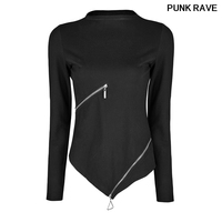 Gothic Harajuku Rock Crop T shirt fashion Ring Waist Zipper Stand collar Black Stretch Knitted T shirt PUNK RAVE OPT 162TCF