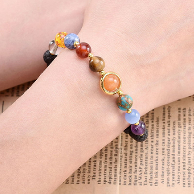 Fashion Universe Galaxy the Eight Planets Solar System Guardian Star Natural Stone Beads Bracelet Bangle For Women Men JB0476