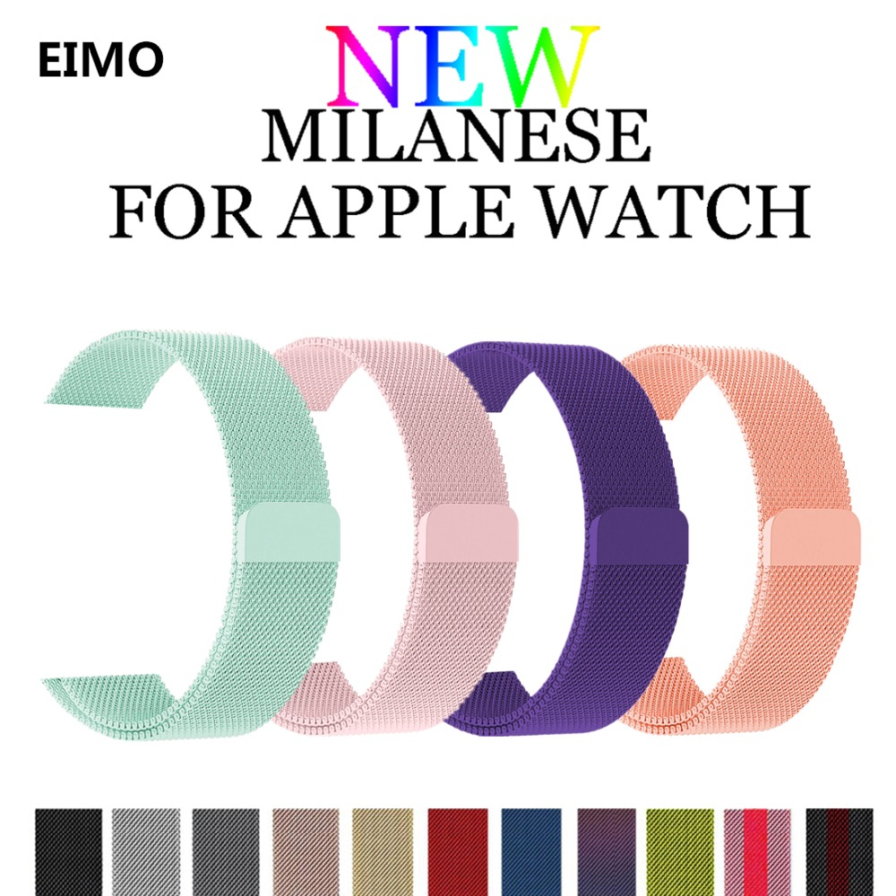 Milanese Loop para Apple Watch band 42mm 38mm iwatch 4/3/2/1 40mm 44mm Acero inoxidable enlace pulsera hebilla magnética