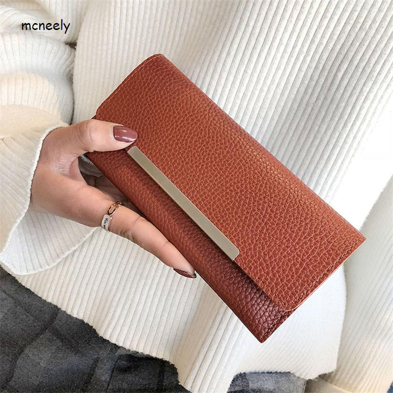 2018 High Quality Women Long Wallets Letter Standard Hasp Money Purse Fashion Style Card Holder Synthetic Leather Clutch Bag