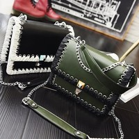 2017 New Arrival Women S Handbag Vintage Knitted Chain Shoulder Bag Fashion Crossbody PU Leather Clutch