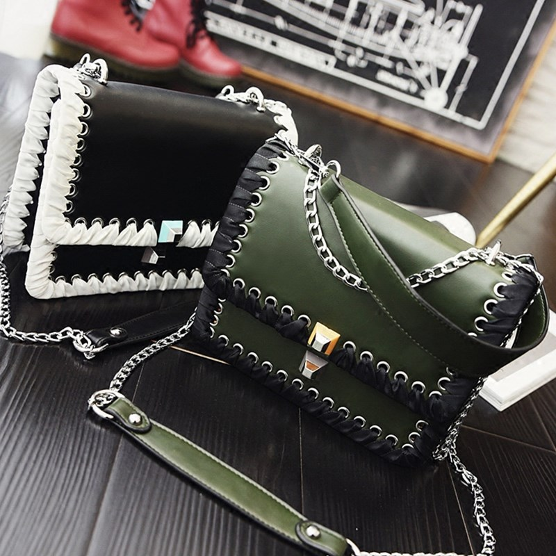 New Vintage Knitted Metal Chain Shoulder Bag Fashion PU Leather Clutch Hasp Handbag Crossbody Bags for Women