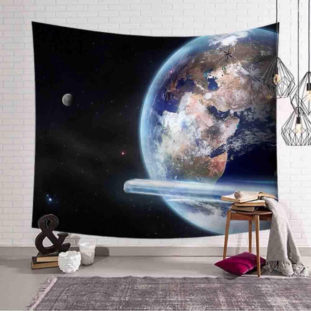 מקום יפה סניק שטיח ירח כדור הארץ תלוי קיר תמונה לילה נוף חוף מגבת טבע Tenture קיר פוליאסטר שטיח