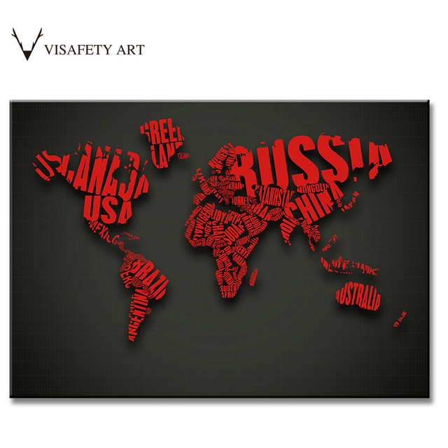 1 PCS Creative Letter Maps Painting Prints on Canvas Abstract Red