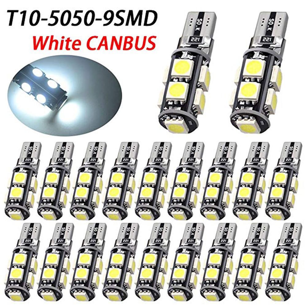 YSY 20pcs Canbus Error Free T10 <font><b>W5W</b></font> <font><b>5050</b></font> 9SMD SMD <font><b>LED</b></font> High Power Car Auto Wedge Lights Parking Bulb Lamp DC 12V