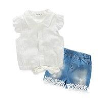 חליפות חדשות קיץ בנות בגדי סטי בגדי ילדים חולצה לבנה + מכנסיים תחרת קאובוי דפוס פרח בגדי ילדים חמודים 3-9Y