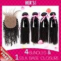 4 x 4 шелк база закрытие с пучками, 4 связки афро странный наращивание волос, Доступное перуанский девы волос, Девственница вьющиеся волосы переплетения