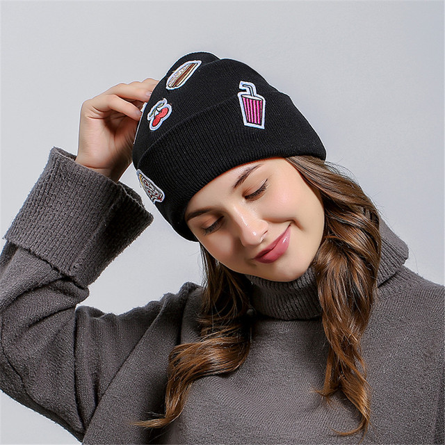 2018 Skully Beanies Winter Ice Cream Patch Hat For Women Warm Hat Fashion  Knitting Warm Cap Warm Wool Hat Cap Fashion Winter Hat 15d153180fc