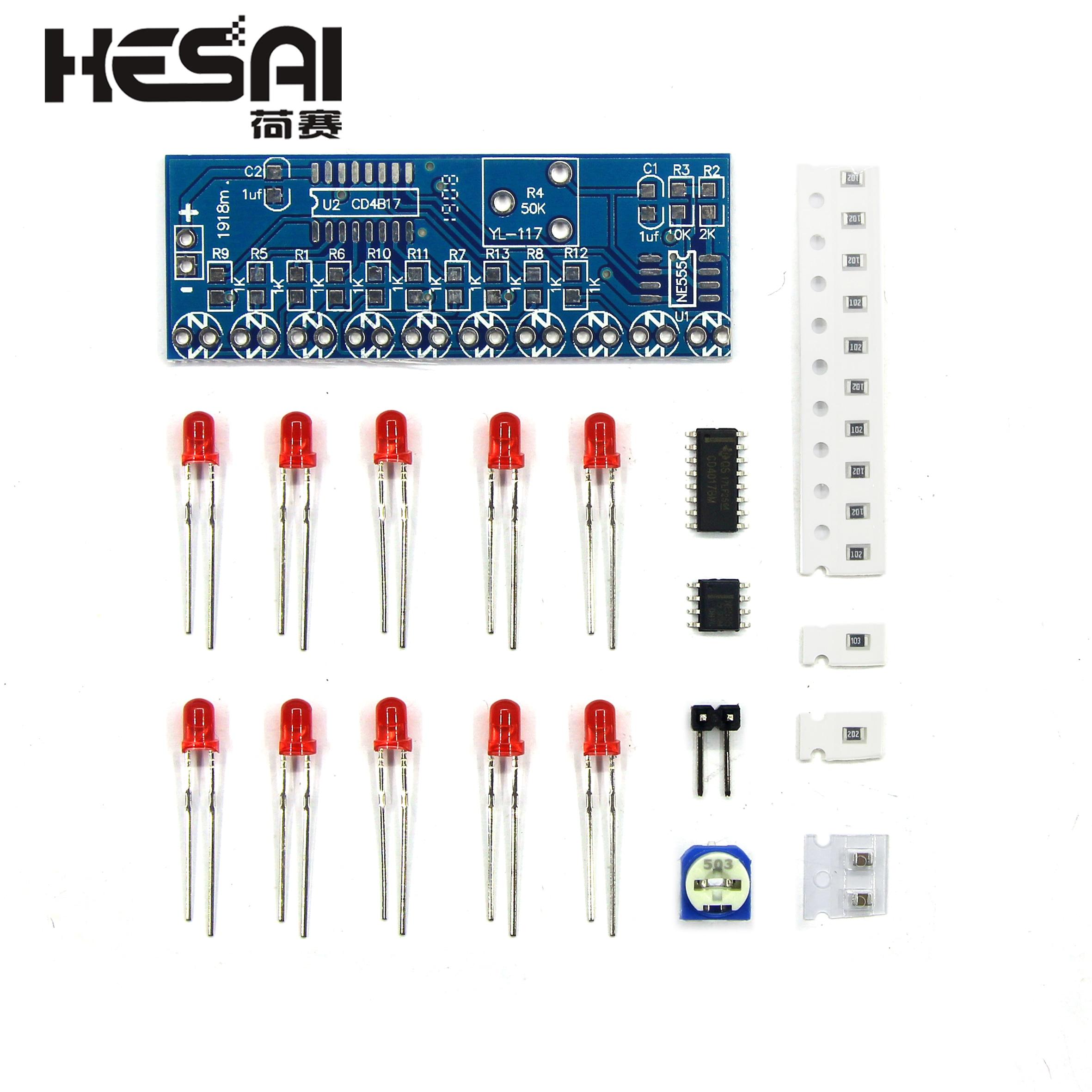 Smart Electronics Kits NE555+CD4017 Light Water Flowing Light LED Module DIY Kit electronic component