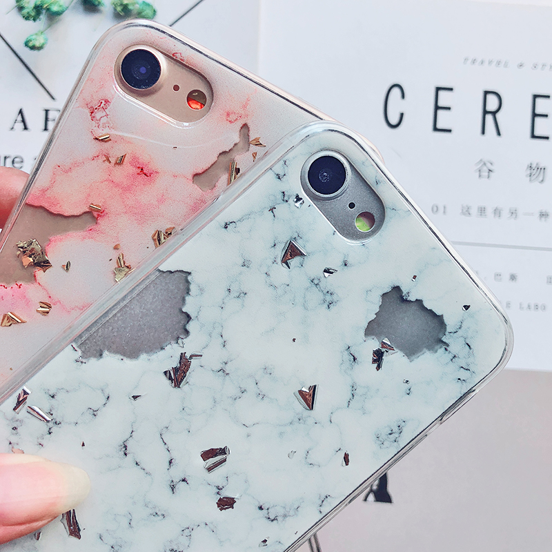 Luxury Gold Foil Bling Marble Phone Cases For iPhone X 10 Cover Hole Soft TPU Cover For iPhone 7 8 6 6s Plus Glitter Case Coque (22)