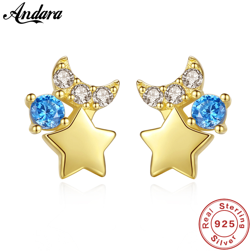 New Design 14k Real Gold Jewelry Lucky Star Moon Stud Earrings with 3A Zircon Women Wedding JewelryNew Design 14k Real Gold Jewelry Lucky Star Moon Stud Earrings with 3A Zircon Women Wedding Jewelry