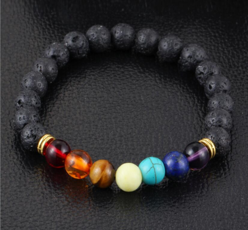 Free shipping Natural stone AgateVolcano lava stone 8 mm energy colorful beads hand string bracelet wholesale
