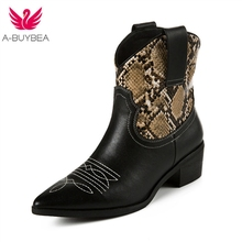 Fashion Cowgirl Boots Women Shoes Winter Western Cowboy Ankle Boots Pointed Toe Splicing Sequined Real Leather Shoes Woman 2019 fashion cowgirl boots women shoes winter western cowboy ankle boots pointed toe splicing sequined pu leather shoes woman