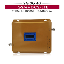 65dB Gain Dual Band Booster 2G GSM 900 4G LTE DCS 1800 mhz Cell Phone Signal Repeater Cellular Amplifier with LCD Display