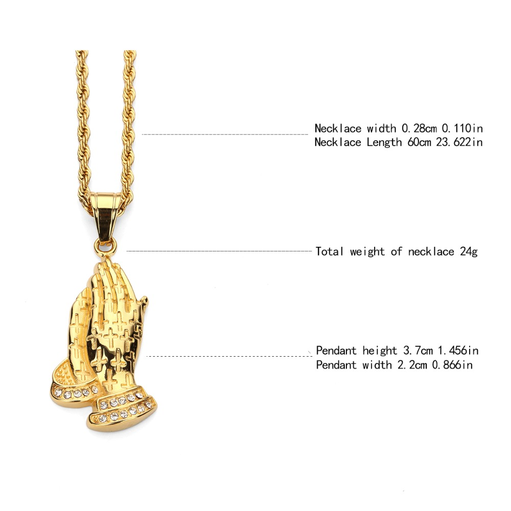 898145a2b Stainless Steel Praying Hands Pendant Necklace Rope Chain Gold Labmade HIP  HOP BLING Prayer Jesus Hand Necklace-in Pendant Necklaces from Jewelry ...