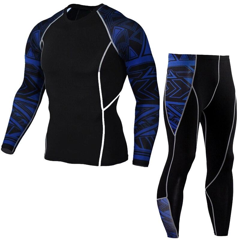 Купить с кэшбэком men's running suit brand 2018 MMA Clothing men sweatsuits Training T shirt  stretch breathable men's winter sports rash guard