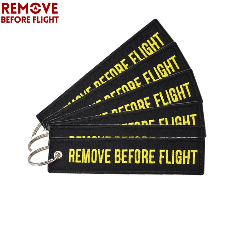 10pcs REMOVE BEFORE FLIGHT Black Keychain for Cars Motorcycles Embroidery Key Ring Key Fob Luggage Safety Tag chaveiro llavero