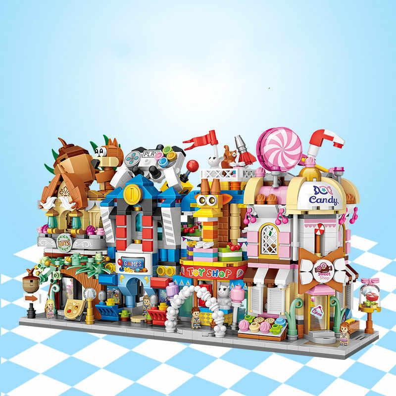 Loz mini blocos cidade vista cena café loja varejo arquiteturas modelos & construção quiz brinquedo de natal para crianças