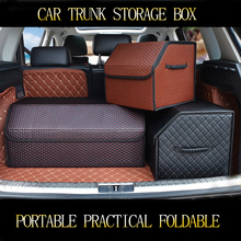 car trunk organizer storage box auto  leather folding accessories stowing tidying collapsible
