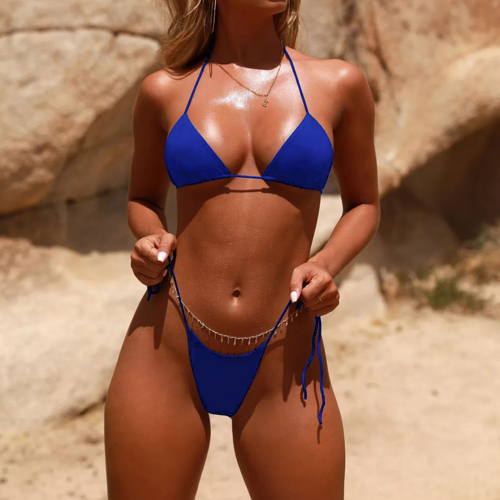 HTB1Yq1AadzvK1RkSnfoq6zMwVXag Women Sexy Bikinis Bandeau Bandage Bikini Set Push-Up Brazilian Swimwear Beachwear Swimsuit 2019 Mujer Solid Maillot De Bain#15