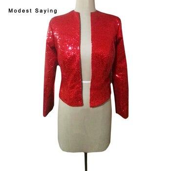 Luxury Red Shiny Long Sleeve Sequined Bridal Boleros 2018 Wraps Formal High Quality Wedding Jackets Coats Wedding Accessories