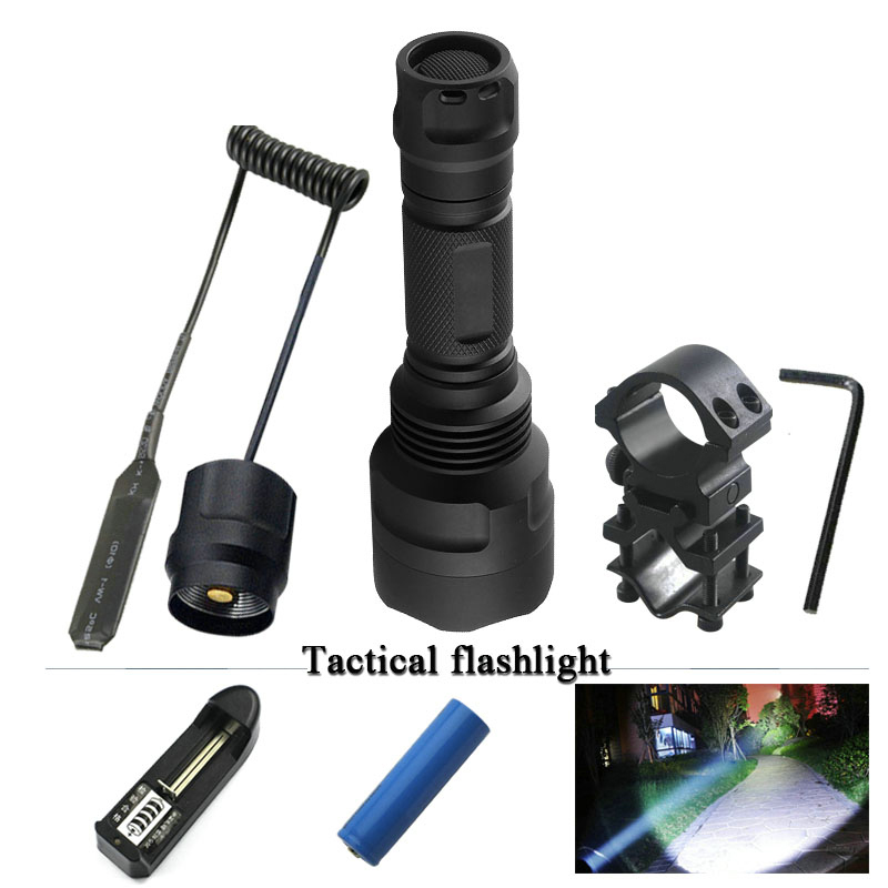 portable lantern tactical flashlight 18650 rechargeab xm-l t6 l2 self defense spotlight torch warterproof flashlight for hunting