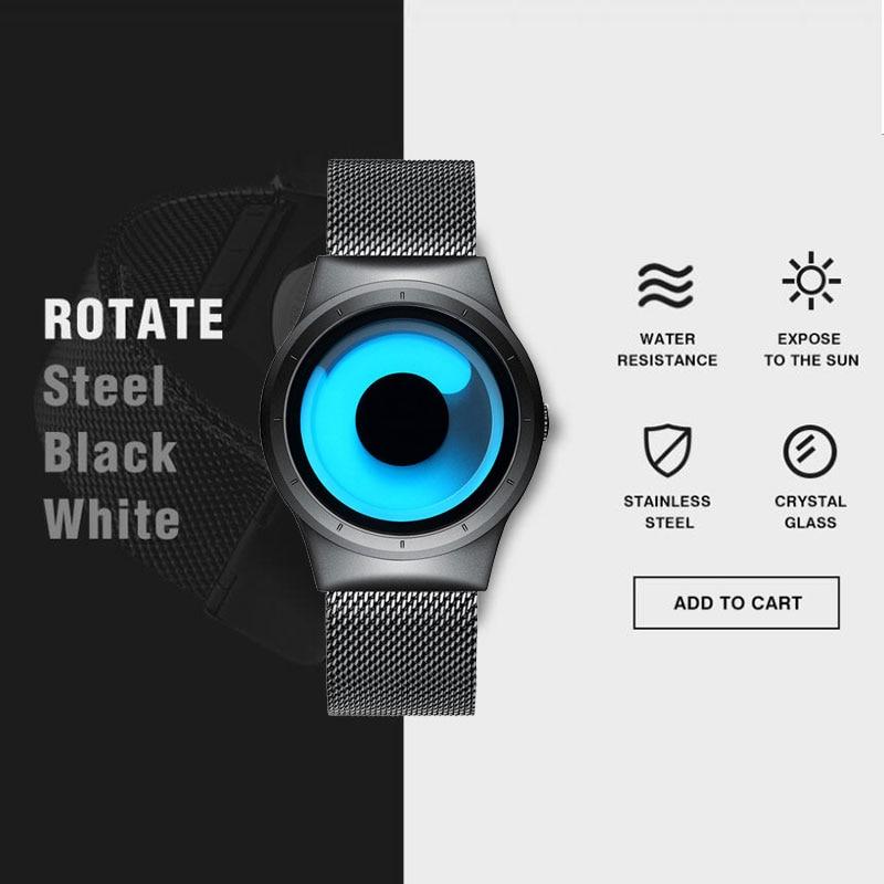 2018 Mænds nye kreative Rotary Quartz-ure Rustfrit stål Mesh Mænd - Mænds ure - Foto 3
