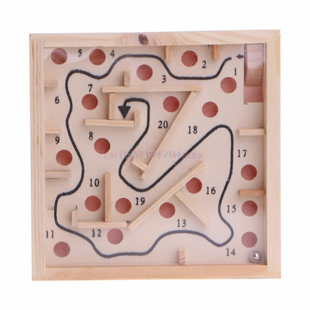 Children Kid Wooden Maze Balance Labyrinth Game Toys Intellectual Early Learning #H055#