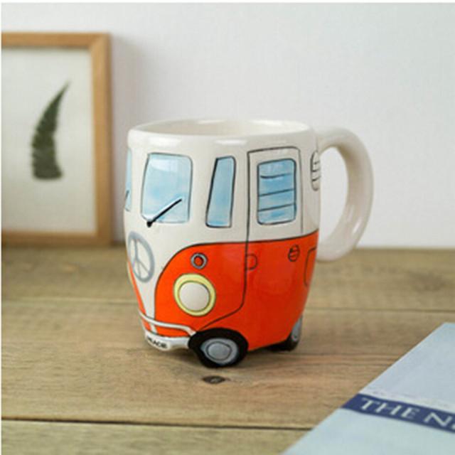Hand Painting Double Bus Retro Ceramic Mug