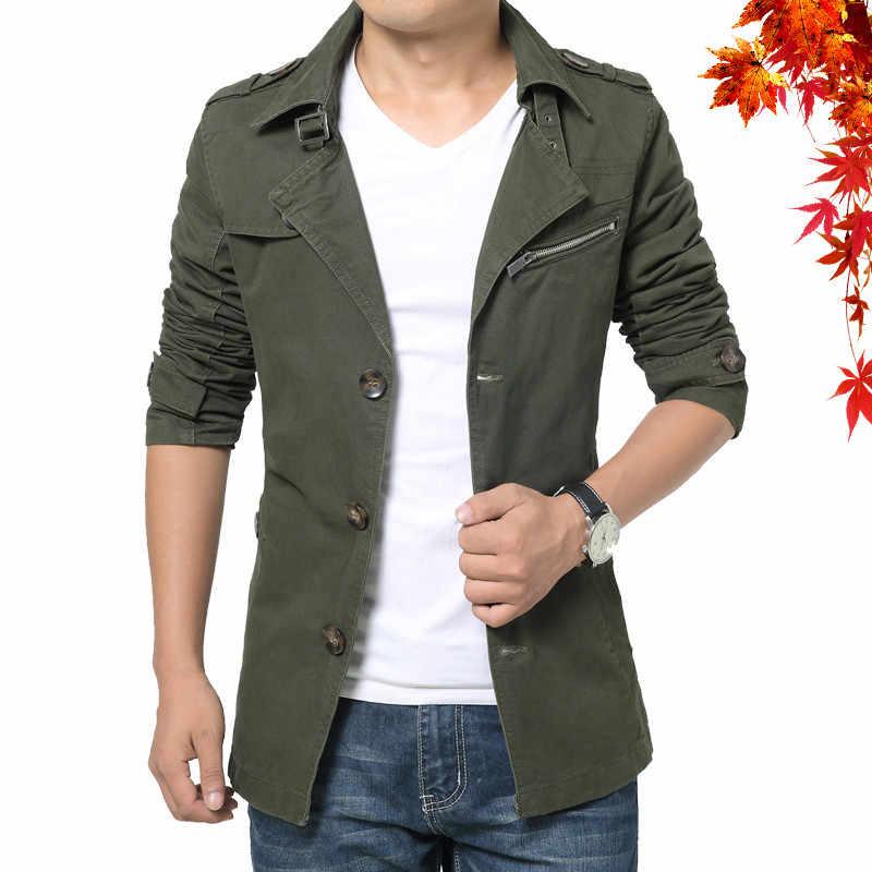Модная мужская ветровка куртка весна осень хлопок для бизнес на каждый день Тренч пальто для мужчин однотонные мужской тонкий жакет верхняя одежда