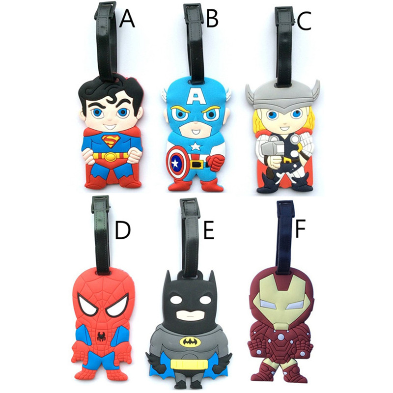 Batman Spider Man Iron ID Address Holder Baggage Label The Avengers Suitcase Luggage Tag Silicone Identifier Travel Accessories