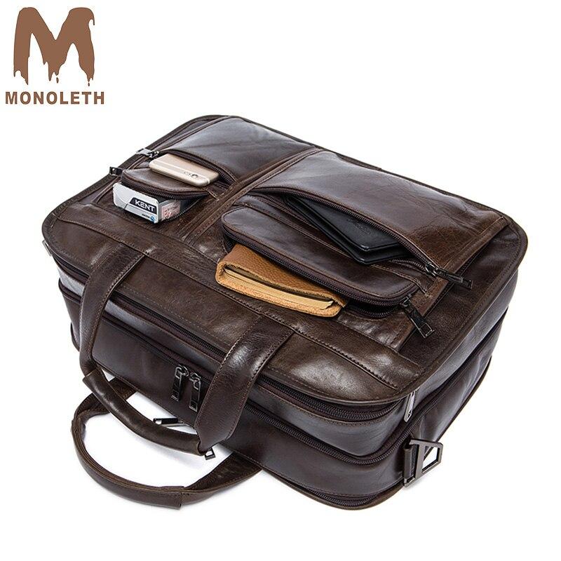 MONOLETH 2018 nouveau rétro mallette sac d'affaires sac d'épaule de Messager sac hommes En Cuir Véritable Hommes Sacs Multifonctionnel de conception 8893