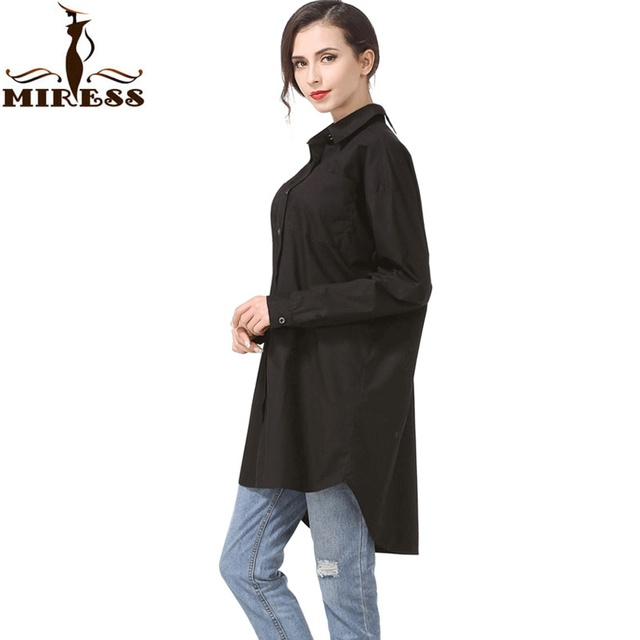 d61f5027cc57 Women Long Casual Blouses Oversized Black Long Sleeve Loose Back Button  Down Long Shirts Office Wear Tops Blusas Clothing MIRESS