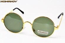 = NOMANOV MARKE = klassische Runde Retro polarisierte männer frauen sonnenbrille Hohe Qualität Legierung Gold Frame grüne linsen sonnenbrille