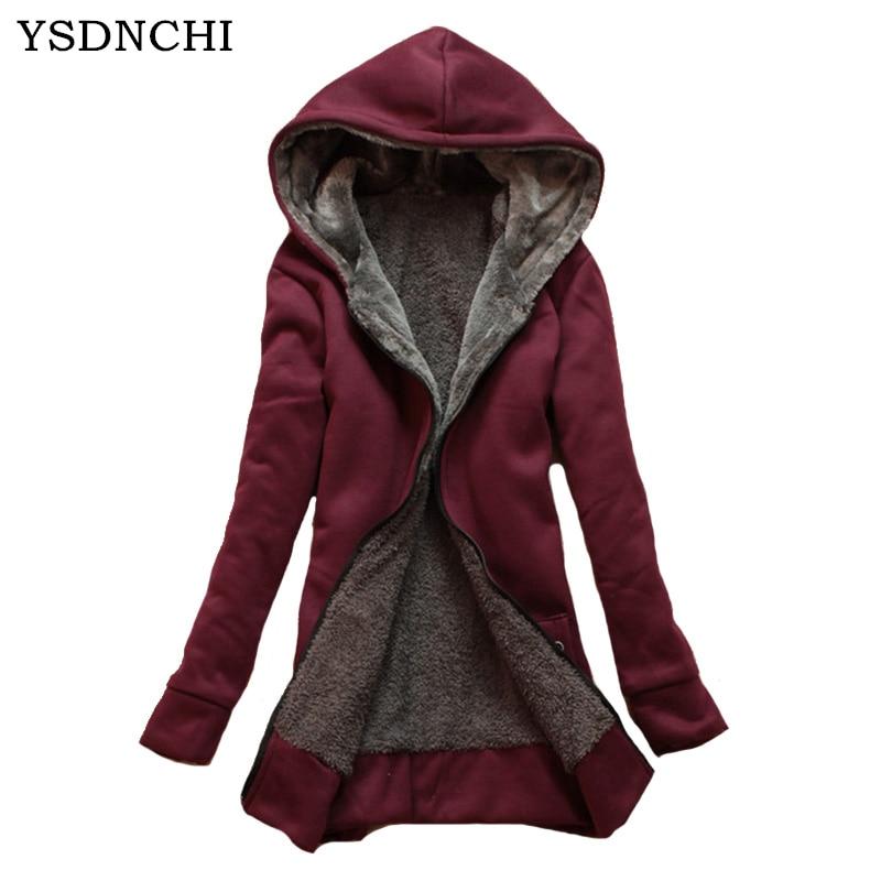 YSDNCHI Autumn Parkas   Basic     Jackets   Female Women Winter Plus Velvet Lamb Hooded Coats Cotton Winter   Jacket   Womens Outwear Coat