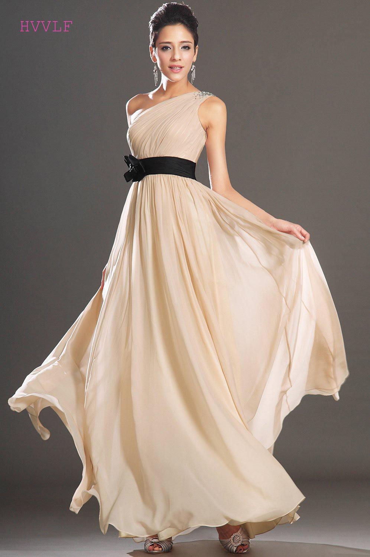Champagne   Evening     Dresses   2019 A-line One-shoulder Chiffon Beaded Sash Plus Size Long   Evening   Gown Prom   Dresses   Robe De Soiree