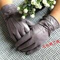 Женщина осень плюс размер плюс бархат утолщаются овчины перчатки женские зимние теплые кожаные Рукавицы леди твердые лук кожаной перчатки