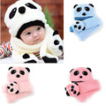 2017 Hot Cute 2pcs Toddler Infant Girl Boy Winter Warm Newborn Baby Bebe Hat Cap Beanie+Scarf Panda Cartoon 0-2 Years Hats Caps