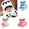 2017 caliente linda 2 unids infant toddler girl boy caliente del invierno recién nacido bebé bebe sombrero cap beanie + bufanda panda de la historieta 0-2 años sombreros gorras