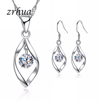 ZRHUA High Quality Silver 925 Jewelry Sets Shiny AAA+ CZ Crystal Pendant Necklace Earrings Set For Women Wedding Bridal Bijoux