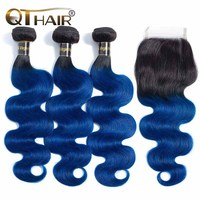 1B/Blue Body Wave Human Hair Bundles With Closure 2 Tone Ombre Hair 3 Bundles With Closure Brazilian Remy Hair Extension QT