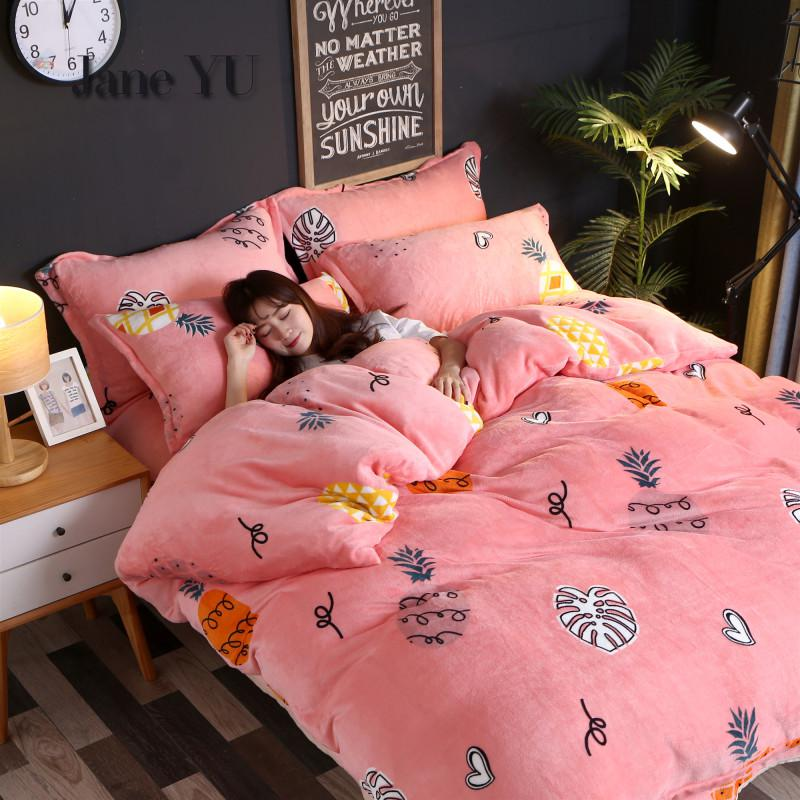 JaneYU 15 Colors Duvet Cover Flannel Fleece Flower Print Duvet Cover Comforter Case Winter Soft Warm Plush Duvet Cover